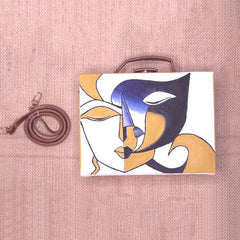 Two Faces Handpainted Sling Bag ,sling bag, gonecasestore - gonecasestore