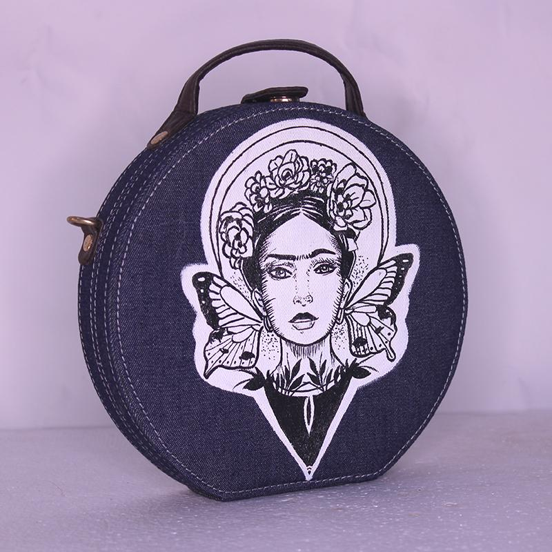 Frida Kahlo Denim Handpainted Sling Bag