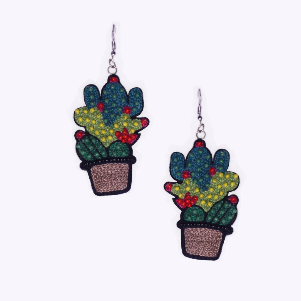 Cactus Embroidered Handmade Earrings ,Earrings, gonecasestore - gonecasestore