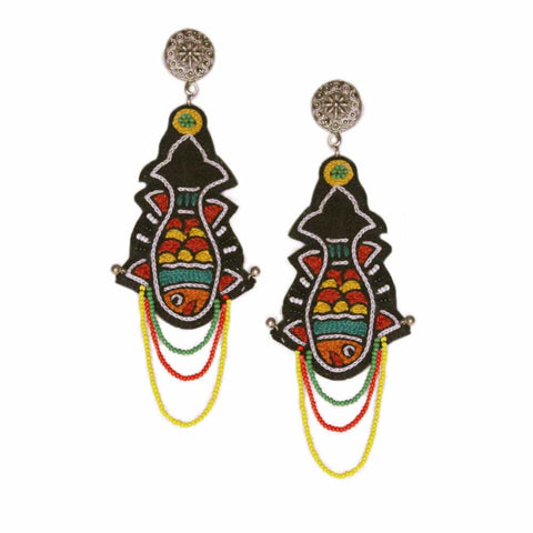 Fish Embroidery Earrings