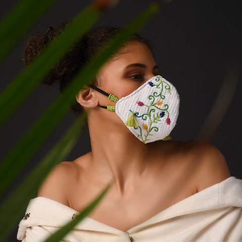 Floral Embroidered Mask ,sling bag, gonecasestore - gonecasestore