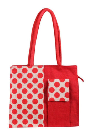 Fabseasons Red Dot mobile Jute Tote Bag