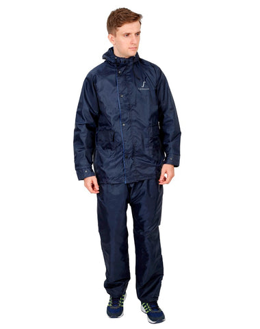 FabSeasons Blue Reversible waterproof Unisex raincoat with adjustable Hood & Reflector at back