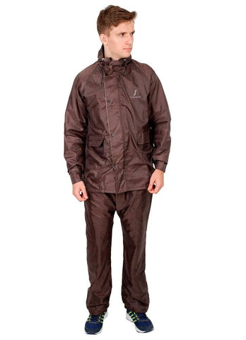 Fabseasons Brown Reversible waterproof Unisex raincoat with adjustable Hood & Reflector at back