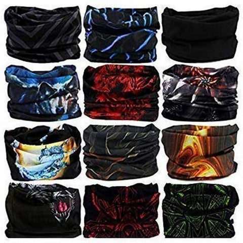 Fabseasons Unisex Headwear Head Wrap UV Resistence Sports Bandana (Assorted Color and Design) Pack of 10
