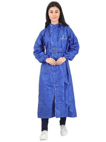 Fabseasons Blue Raincoat for Women with Adjustable Hood & Reflector for Night visibility
