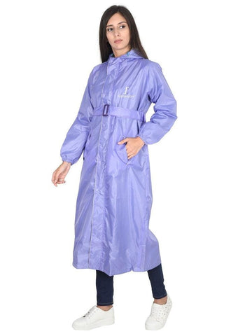 Fabseasons LightPurple Raincoat for women with Adjustable Hood & Reflector for Night visibility
