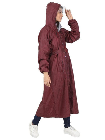Fabseasons Maroon Raincoat for Women with Adjustable Hood & Reflector for Night visibility