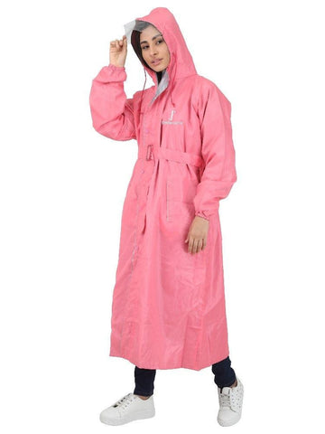 Waterproof Long - Full Raincoat for Women with Adjustable Hood and Reflector at back for Night visibility