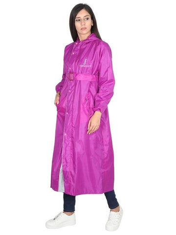 Fabseasons Purple Raincoat for Women with Adjustable Hood & Reflector for Night visibility