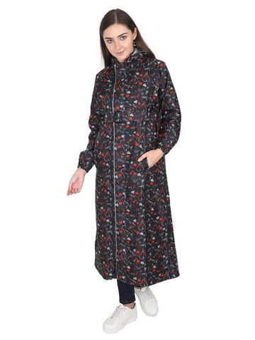 Fabseasons BlackRed Reversible Raincoat for Women Long - Adjustable Hood & Reflector at back