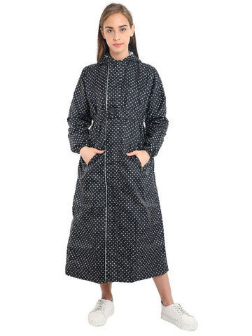 FabSeasons Black Reversible Long Raincoat for women with Hood and Reflector at back
