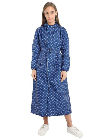 FabSeasons Blue Dots Long Raincoat for women with adjustable Hood and Reflector at back for Night visibility