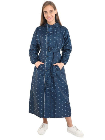 FabSeasons Blue Long Raincoat for women with adjustable Hood & Reflector at back for Night visibility