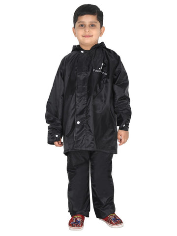 Fabseasons Solid Black Waterproof Raincoat for kids Set of Pant & Top with Hood