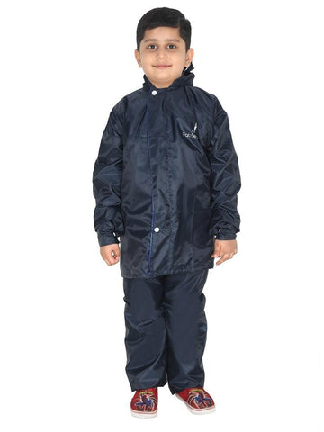 Fabseasons Solid Blue Waterproof Raincoat for kids Set of Pant & Top with Hood