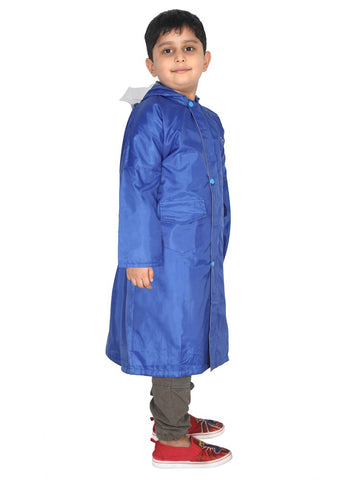 Fabseasons Unisex Blue Waterproof Long - Full  raincoat for Kids with hood