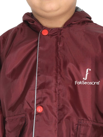 Fabseasons Unisex Maroon Waterproof Long - Full  raincoat for Kids with hood