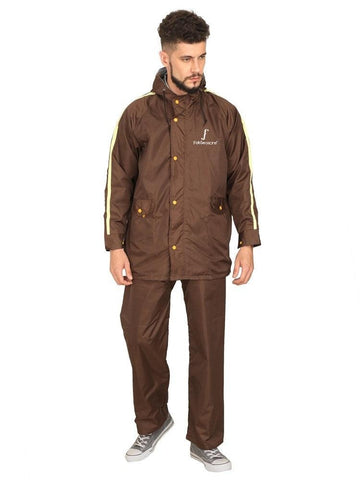 Fabseasons Brown Unisex Raincoat with adjustable Hood & Reflector at back