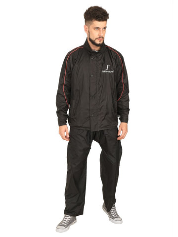 Fabseasons Plain Black Reversible Unisex Raincoat with Reflector at Back for Night visibility