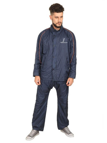 Fabseasons Plain Blue Reversible Unisex Raincoat with Reflector at Back for Night visibility