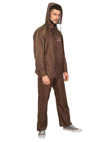 Fabseasons Plain Brown Reversible Unisex Raincoat with Reflector at Back for Night visibility