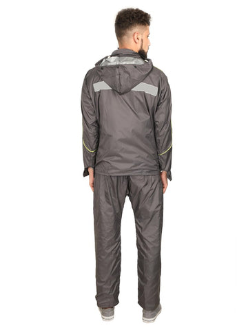 Fabseasons Plain Grey Reversible Unisex Raincoat with Reflector at Back for Night visibility