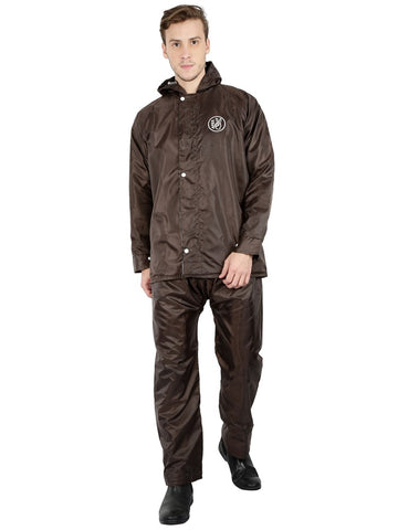 Fabseasons Apex Brown Reversible Unisex Raincoat with Hood and Reflector