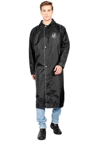 Fabseasons Black Apex High Quality Long Unisex Raincoat -with Adjustable Hood & Reflector at Back