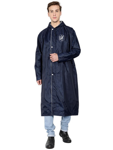 Fabseasons Blue Apex High Quality Long Raincoat -with Adjustable Hood & Reflector at Back