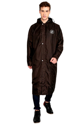 Fabseasons Brown Apex High Quality Long Unisex Raincoat -with Adjustable Hood & Reflector at Back