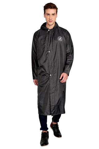 Fabseasons Grey Apex High Quality Long Unisex Raincoat -with Adjustable Hood & Reflector at Back