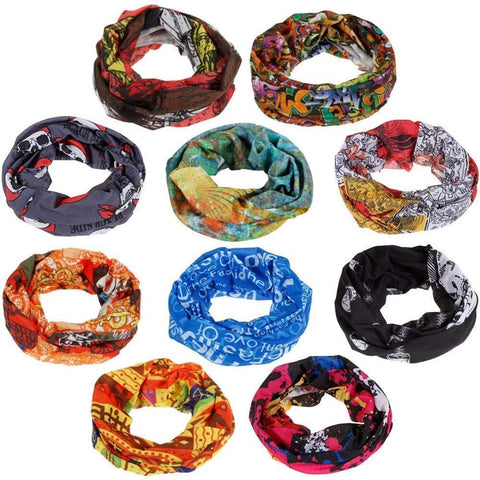 Fabseasons Unisex Headwear Head Wrap UV Resistence Sports Bandana (Assorted Color and Design) Pack of 6
