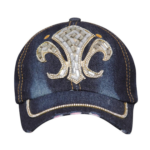 FabSeasons Grand Denim Studded Cap ,Adjustable strap