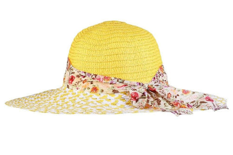 FabSeasons Yellow Beach Hat For Women