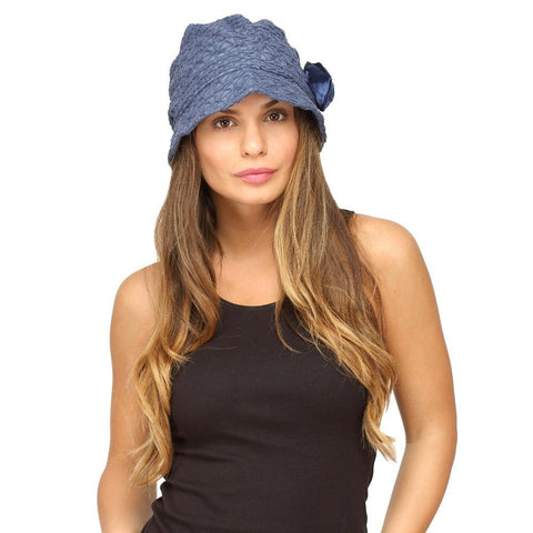 Fabseasons Navy Blue Ribbon Cloche for Women