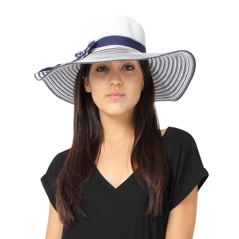 Fabseasons Blue Wavy Long Brim Sun Hat for Women