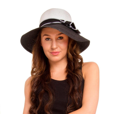 Fabseasons Black Sun Hat with Long Brim for Women