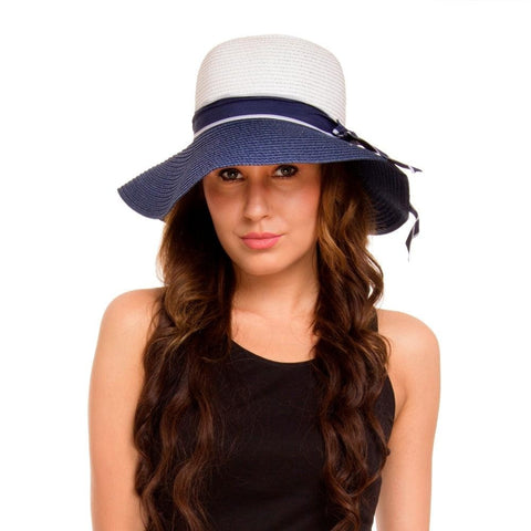 Fabseasons Blue Sun Hat with Long Brim for Women