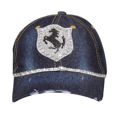 Denim Studded Cap for Women and Girls, Adjustable strap