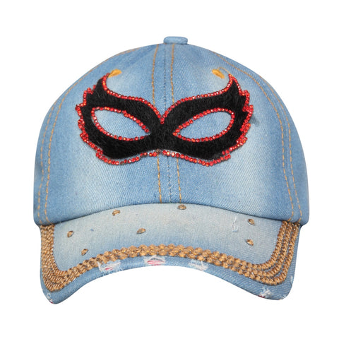 Denim Flare Denim Blue Studded Cap for Women and Girls, Adjustable strap