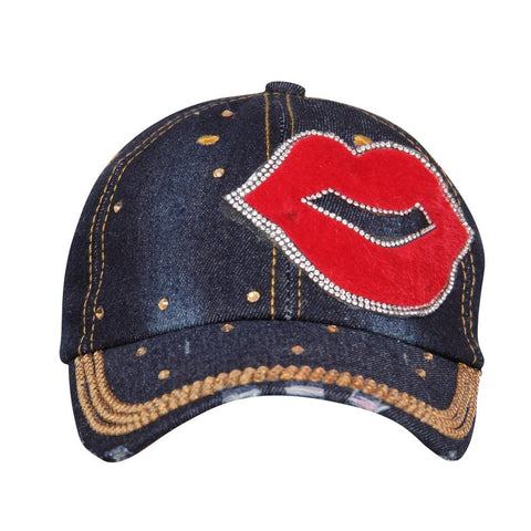Fabseasons Dark Blue LOVE Studded Cap for Women and Girls, Adjustable strap