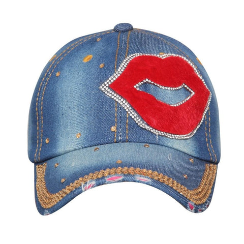 Fabseasons Medium Blue LOVE Studded Cap for Women and Girls, Adjustable strap