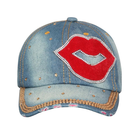 Fabseasons Light Blue LOVE Studded Cap for Women and Girls, Adjustable strap