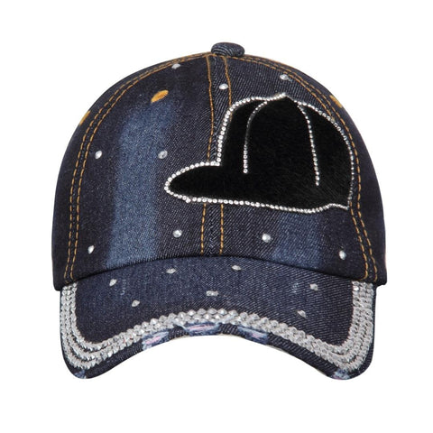 FabSeasons Designer Denim Studded Cap ,Adjustable strap