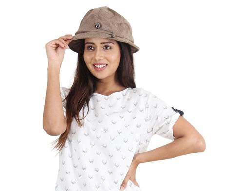 FabSeasons Simple Light Brown Fancy Cloche for Women & Girls
