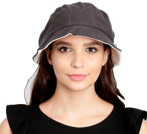 FabSeasons Grey Foldable Cotton Fashion Cloche / Caps / Hats for Girls & Women