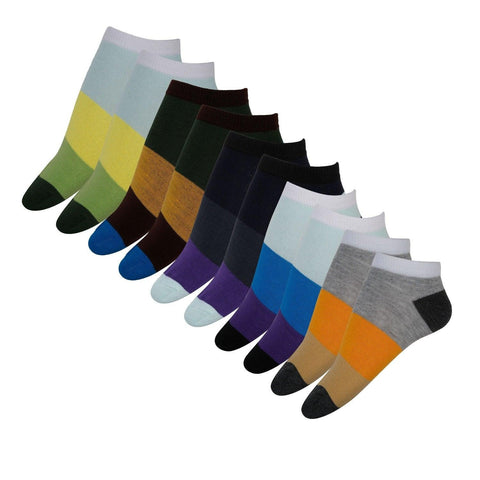 Fabseasons Cotton Liner Extra Low Cut Crew Socks for Men / Women-Combo of 5 pairs