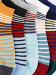 FabSeasons Cotton Liner Fancy Striped Crew Socks for Men / Women. Combo of 5 pairs