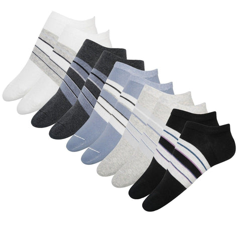 FabSeasons Cotton White/Grey Striped Crew Socks for Men / Women. Combo of 5 pairs